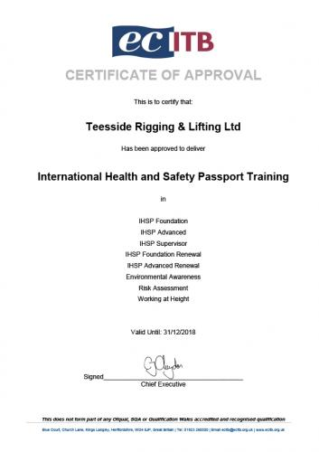 IHSP Company Approval Certificate 2018