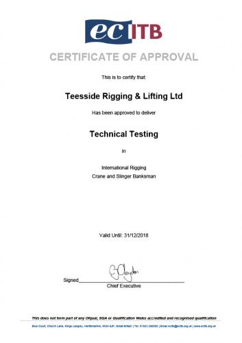 Testing Company Approval Certificate 2018