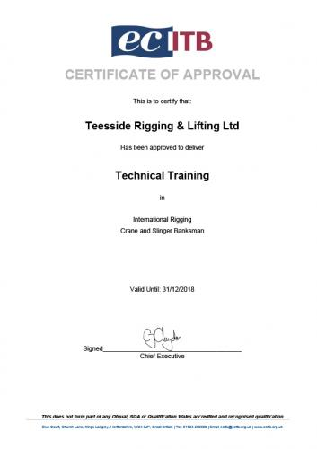 Training Company Approval Certificate 2018